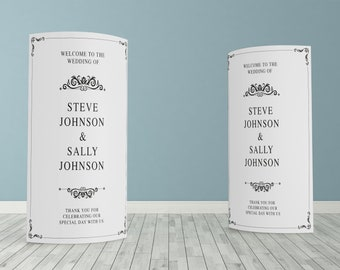 Black and White Traditional Custom ECO Friendly Wedding Welcome, Customised Wedding Pop Up Banner, Personalised Wedding Welcome Sign