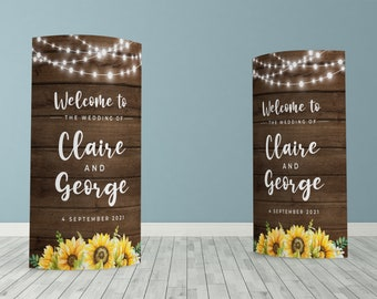 Rustic Sunflower Custom ECO Friendly Wedding Welcome, Customised Wedding Pop Up Banner, Personalised Wedding Welcome Sign