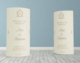 Traditional Cream Custom ECO Friendly Wedding Welcome, Customised Wedding Pop Up Banner, Personalised Wedding Welcome Sign