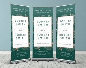 Green and Rose Gold Floral Custom Wedding Roller Banner, Customised Wedding Roll Up Banner, Personalised Wedding Welcome Sign