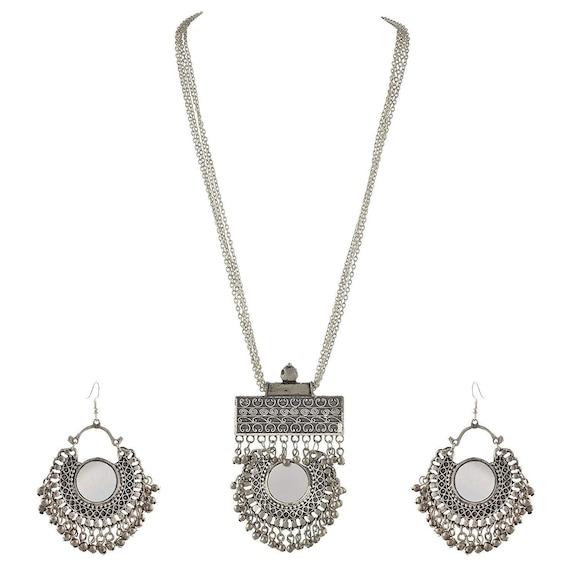 Afghani Turkish Style Oxidised German Silver Chandbali Pendant Necklace Set