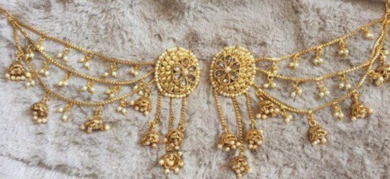 Indian Jewelry Gold Jhumka Indian Earrings Bollywood Etsy
