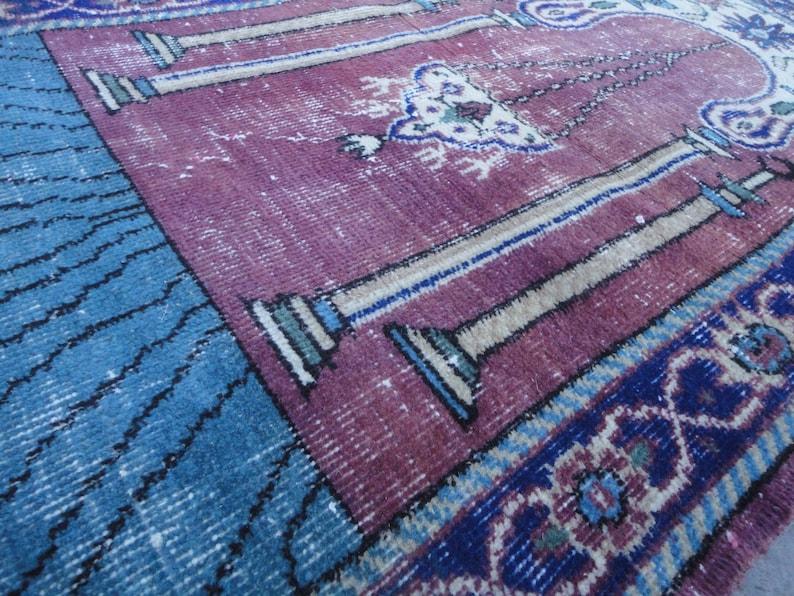 Low Pile Turkish Wool Bedroom Rug,Distressed Bathroom Rug,Faded Entrance Rug,Boho Kitchen Rug,Pale Kids Room Rug,Sink Rug 4/' 4/'/' X 2/' 5/'/'