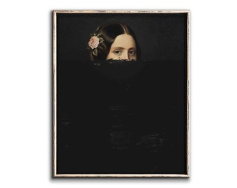Altered Painting Portrait of a Woman Downloadable Prints, Quirky Art Digital, Dipped Painting Vintage Portrait Painting Printable Art