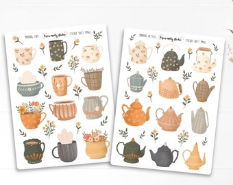 Morning Mugs and Kettle Sticker Sheet, Bujo Stickers, Planner Stickers, Bullet Journaling Stickers