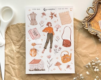 Autumn Foraging Sticker Sheet, Bujo Stickers, Planner Stickers, Bullet Journaling Stickers