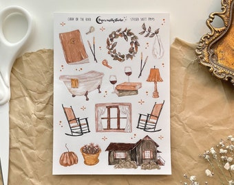 Cabin on the river Sticker Sheet, Bujo Stickers, Planner Stickers, Bullet Journaling Stickers
