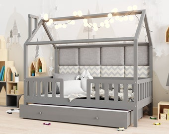 House bed with 2nd sleeping function, cot, cot wooden, bed, children's room, cot pine wood, cot,