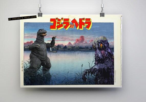 Godzilla vs. Hedorah Japanese Style Print: Ukiyo-E, Japanese Print Mashup, Kaijū, Godzilla Art Poster, Smog Monster