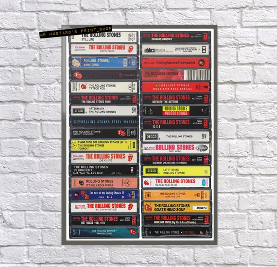 Rolling Stones Discography Cassette Print: Stones Poster, Rolling Stones  Fan, Gift, Art, Stones Albums, Jagger, Richards