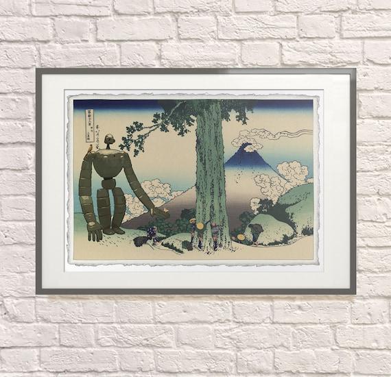 Laputa Robot Japanese Print: Studio Ghibli Poster, Castle in the Sky Poster, Ghibli Fan, Ukiyo-E, Japanese Mashup