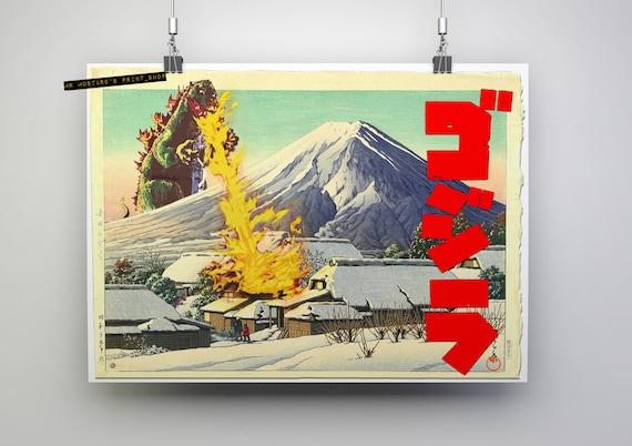 Godzilla Japanese Style Print: Ukiyo-E, Japanese Print Mashup, Kaijū, Godzilla Art Poster