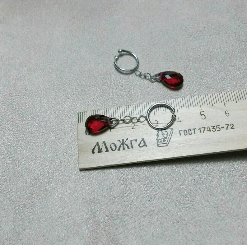 Nipple rings with red cyrstal  stones Body jewelry Sterling silver non piercing