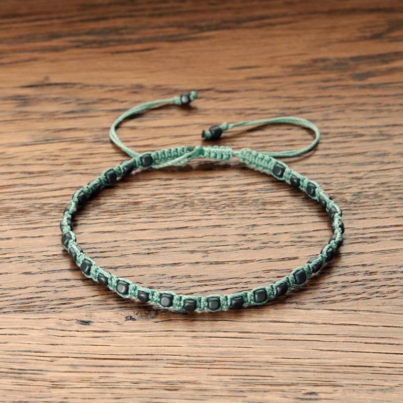 Hematite bracelet Braided beads bracelet Dark grey beads bracelet Green string bracelet for women Summer bracelet Beaded bracelet