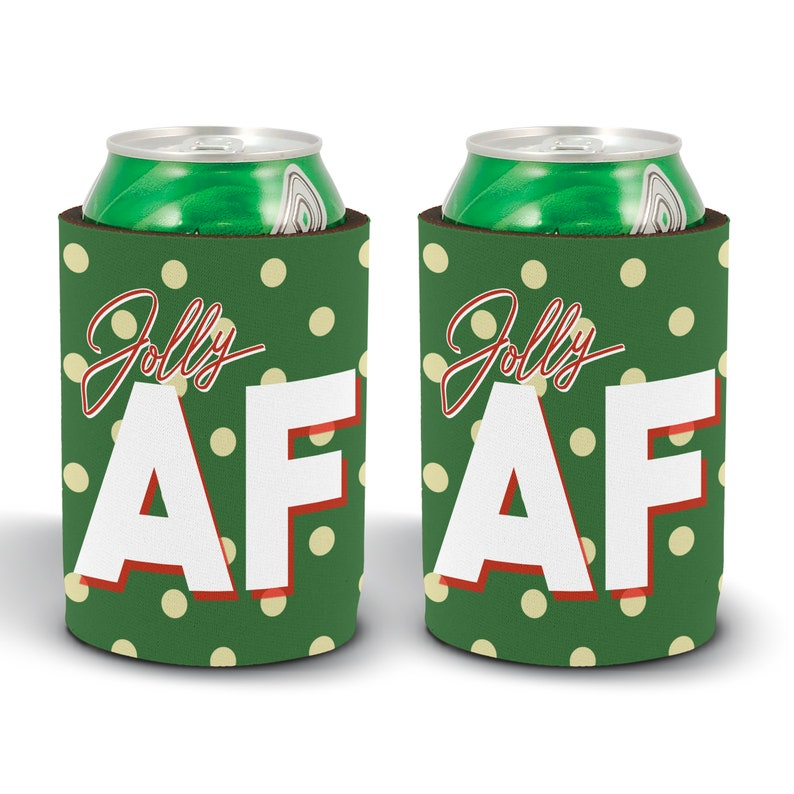 Jolly AF Can Cooler  Holiday 2019 Stocking Stuffer  Can Hugger for Holiday Events  Plaid Christmas