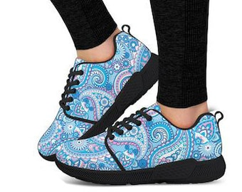 fbfaa352a4e90d Women s Paisley Pattern Blue Athletic Sneaker- Running  Shoes Sneakers Trainers