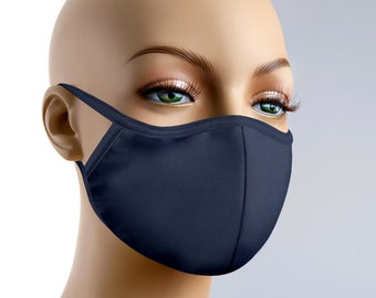 Face Mask With Filter Personalized Navy Blue Masks With Adjustable Ear Loops or Around Head Navy Blue Face Mask and Other Colors Made in USA