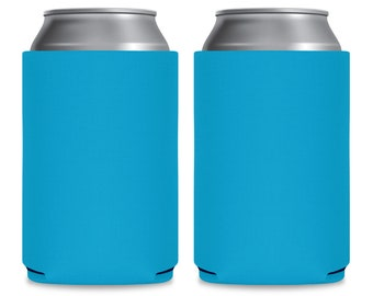 Blank Can Coolers Neon Blue Blank Coolers Aqua Blue Can Holders Assorted Colors Blank Wedding Coolers for Personalization DIY Party Favors