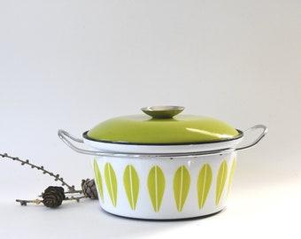 Grete Prytz Kittelsen Small White on Green Cathrineholm Dutch Oven