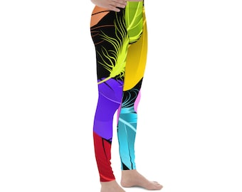 6fe6780c51d63 Bright Colored Bird Feathers Music Festival Yoga Athletic LGBTQ Leggings