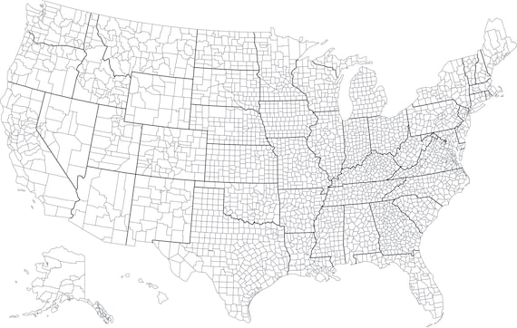 United States With Counties Blank Outline Map | Instant Download