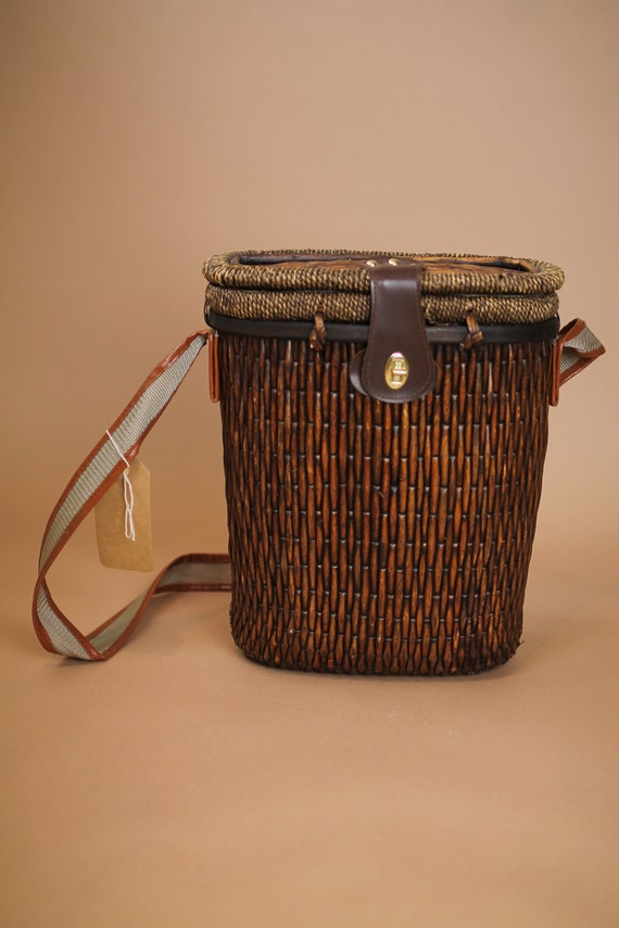 Vintage wicker/rattan wine purse