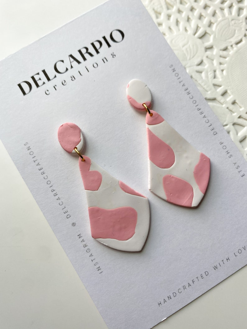 Strawberry Cow  Dangle Earring Handmade gift Valentine Gifts Handmade Polymer Clay Earrings Lightweight Earrings| Gifts For Her