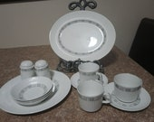 Johnson Bros. Salt and Pepper, 3 Olive oil Bowls 3 Cups, 2 Saucers, 1 Plate and 1 Serving Dish