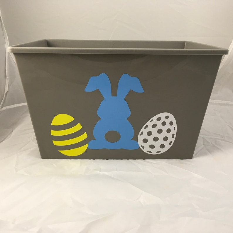 Personalized Gray Blue Easter egg and Bunny Basket Custom Easter Baskets Add your name to pink plastic Easter Basket