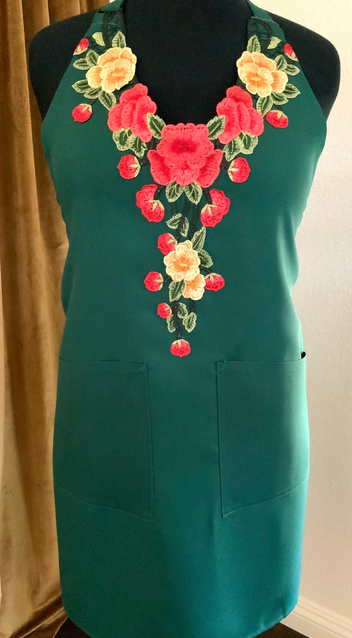 Red & Yellow on Emerald Green Apron