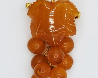 Vintage Russian Baltic Amber Figural Brooch in Goldtone with Butterscotch and Deep Cherry Amber