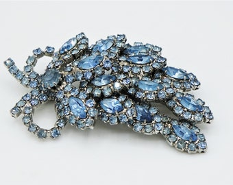 Blue Rhinestone Brooch Layered Leaf Floral Bow Silver Tone Setting Unsigned Designer Jewelry Kramer Weiss