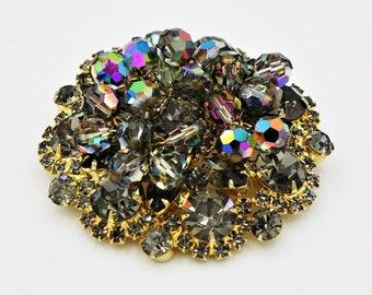 Peacock Juliana Brooch, Cha Cha Dangling Crystals, Gray Rhinestones, Rainbow Crystal Beads, DeLizza Elster Jewelry