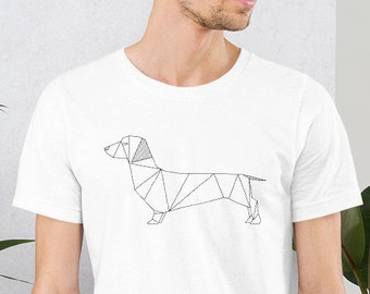 ba8c55fd Dachshund T shirt, Sausage Dog Tee, Dog Lovers T-shirt, White Unisex Sizes  T, Cute Puppy Shirt, Perfect Gift, Geometric Dog Design