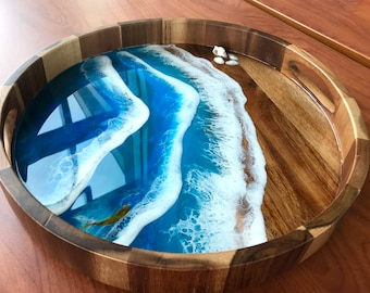 Tray with handles Wedding Gift Serving Tray Mother/'s Day Gift Acacia Tray Vanity Tray Platter Resin Art Resin Wooden Tray OAK