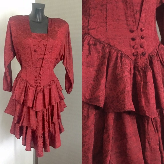 80s Vintage Red Prom Dress Retro Party Bordo Frill