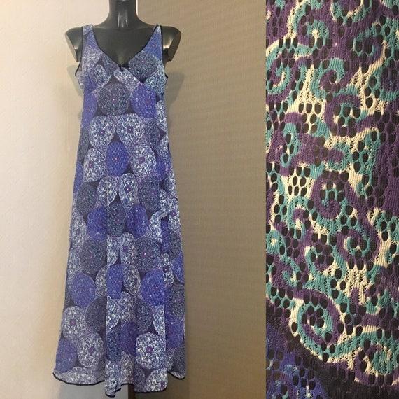 Vintage Blue Lingerie Under Soft Lace Dress Sleeve