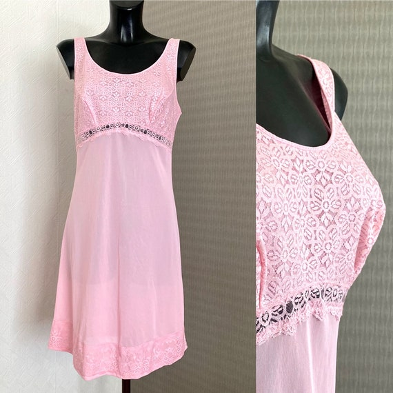 Vintage Pink Under Silk Dress Lace Sleeveles Slip