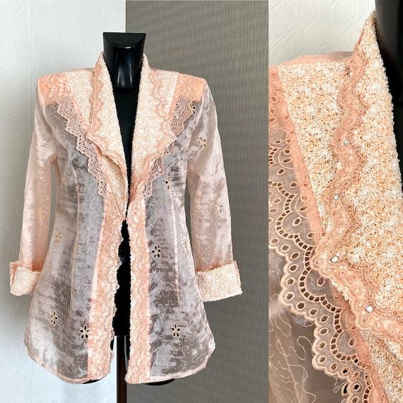 Vintage 80s Pink Blouse Embroidered Floral Transpa