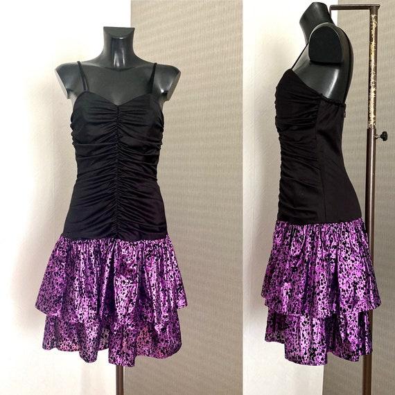 80s Vintage Prom Dress Retro Party Black Purple Ru
