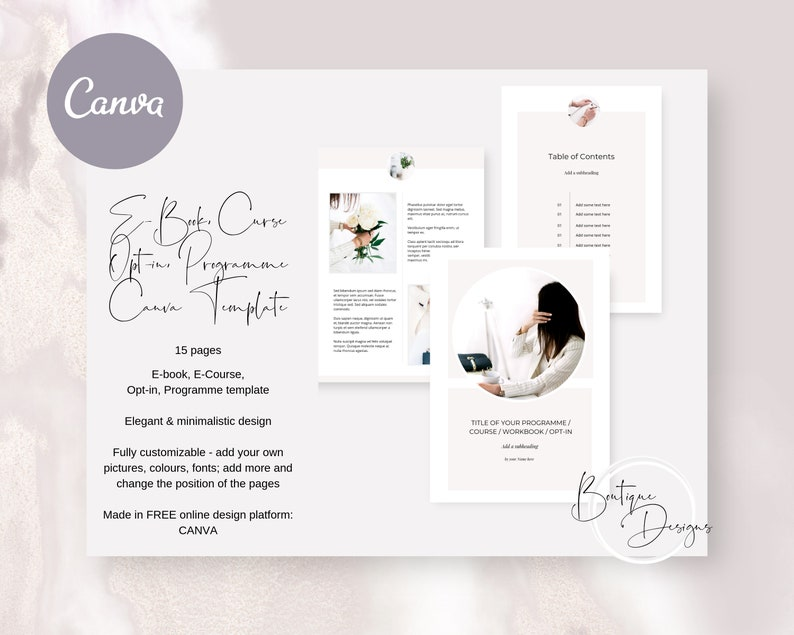 Elegant E-Book Canva Template - Program Template, Course Template,  Workbook, Opt-In Freebie Template, Minimalistic Elegant Canva Template