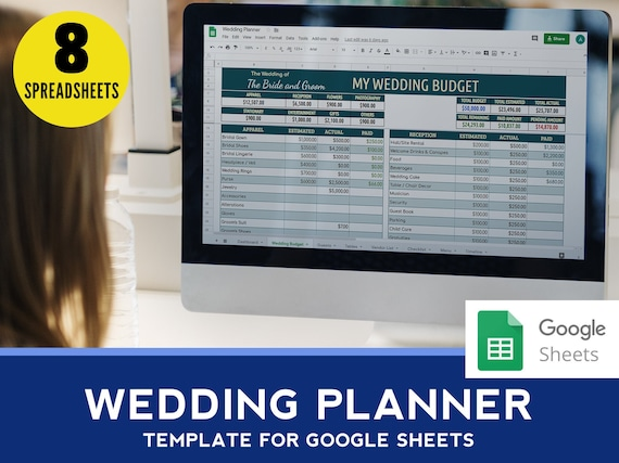 Wedding Planner Excel Tracker Spreadsheet Wedding Google Sheet Guest List Table Seating Organizer Vendors List Checklist Timeline