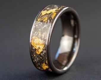 Gold Meteorite Ring, Meteorite Ring, 24K Gold, Meteor Ring, Unique Men's Ring