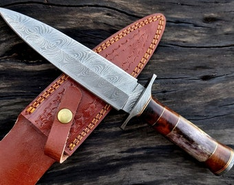 Handmade Forged Damascus Steel Hunting Dagger Knife With Leather Sheath