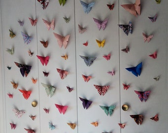 e8daa22c6b6 Lot 75 origami butterflies with multicoloured motifs for personalized  decoration