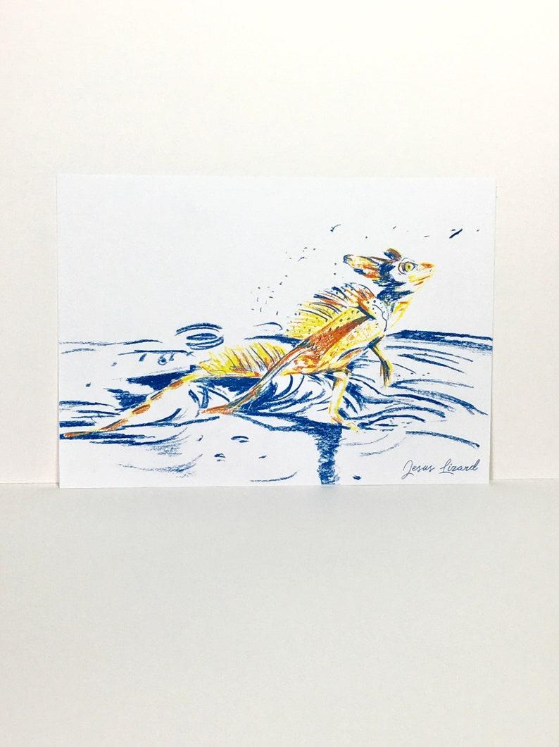 3-Colour Jesus Lizard Risograph Print