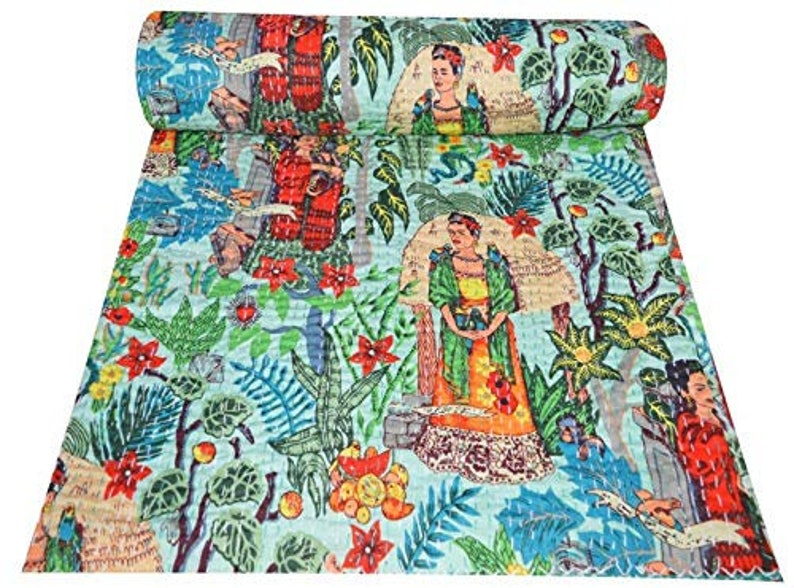 Frida Kahlo Print Kantha Indian Quilts Twin Size Bohemian Handmade Kantha Bed Cover Hippie Tribal Hand Quilted Reversible Blanket Throw
