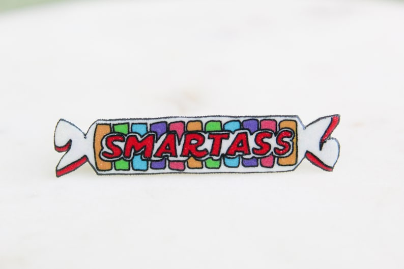 Handmade Smartass Smarties Candy Pin, Candy Wrappers, Novelty Brooch,  Novelty Pins, Funny Pins, Novelty Accessories
