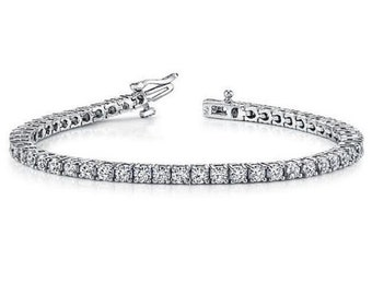 72e7131b10b401 4.50 Ct Beautiful Real Diamond Tennis Bracelet Round Cut 14K White Gold H  SI2 For him For her apprasied and certified