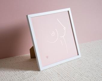 "Poster ""Désir brulant"" | Minimalist nude woman illustration | Sensual and erotic theme"